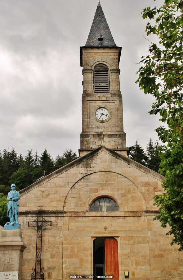 Church, French Heritage monument to Lanuejols.