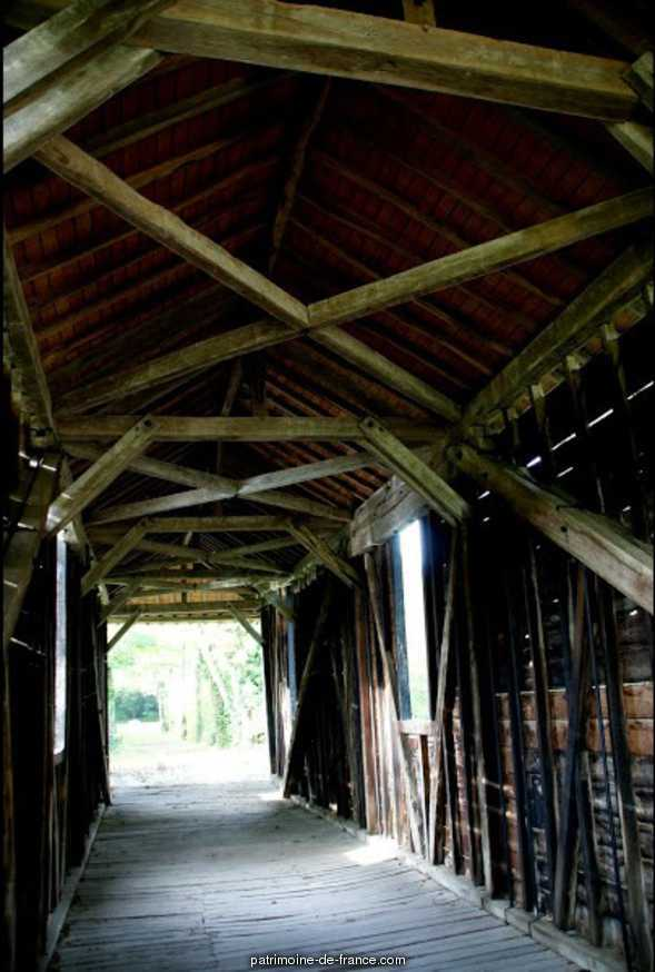 Covered wooden bridge, French Heritage monument to Pont chretien chabenet.