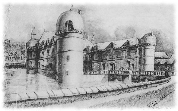 Château d'après une aquarelle de 1875 (aile gauche)