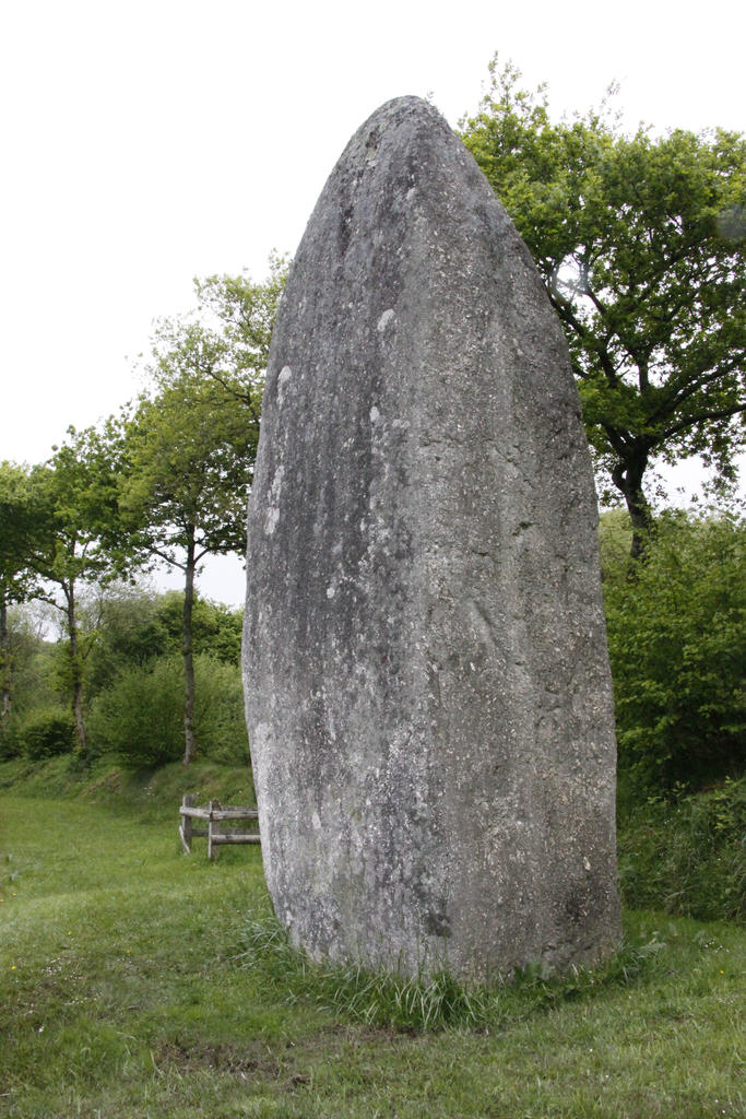 Menhir of Caelonan, or Caillouan, French Heritage monument to Plesidy.